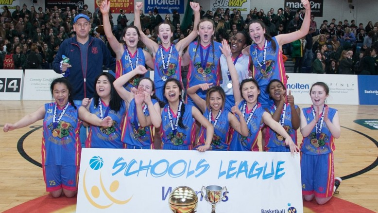 Under 19 Basketball team photo with the trophy.