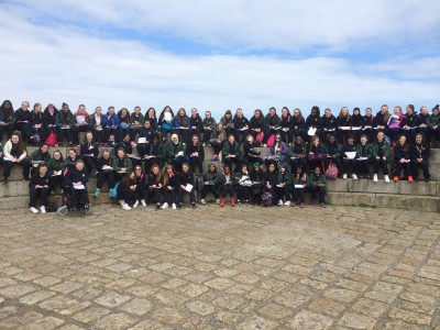 A panoramic shot of all 72 First Years in Howth