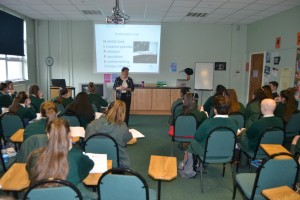 4th Year Students listening to a speaker talking about a career in Biodiversity.