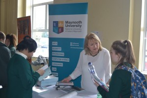 Students speak to an officer from NUI Maynooth