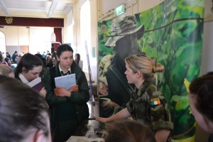Students speaking to an officer from The Defence Forces