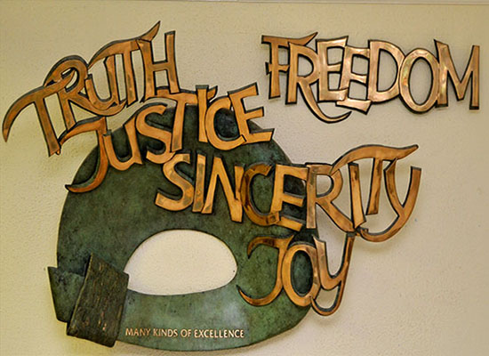 Sculpture in our front hall of the core values of a Loreto Education; Truth, Sincerity, Freedom, Justice and Joy