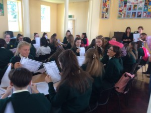 Junior Cert Results being handed out to 4th and 5th Year students.