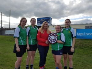 The Senior Camogie team being presented with the Shield at the Loreto Blitz in Fermoy.
