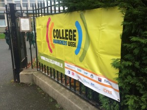 College Awareness banner on display outside our school
