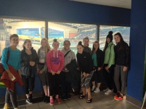 The Loreto Crumlinm Swimming team and supporters in the National Aquatic Centre