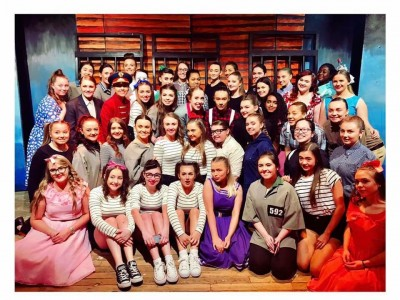 "The cast of ""All Shook Up"" on their final night."