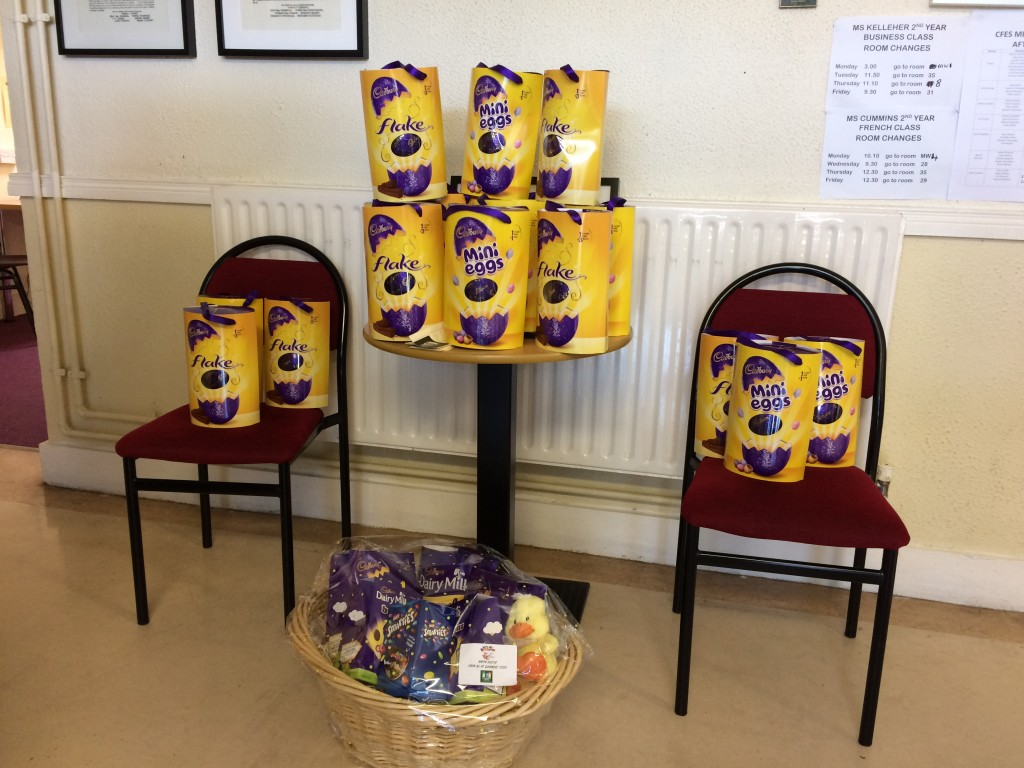 The Easter egg prizes for the students from each class.