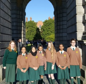 oUR AWARD WINNERS IN FRONT OF THE tRINITY aRCH.
