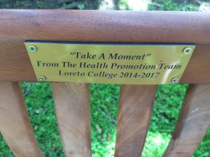 The inscription on the bench