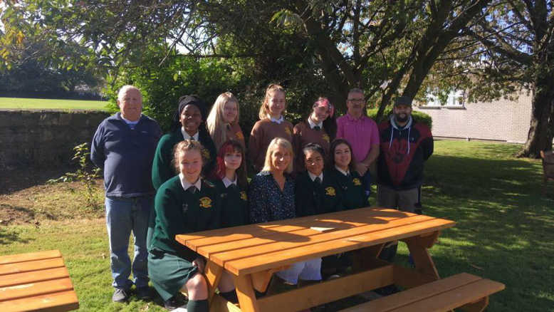 Ken, Joe and Paddy from Dublin 12 Men's Shed with Ms. Dillon and our 2018-2019 student council.