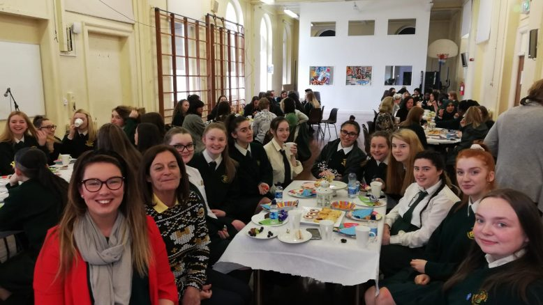 6th years and their teachers enjoying lunch together.