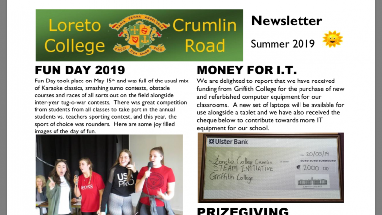 Image of Summer Newsletter frontpage.