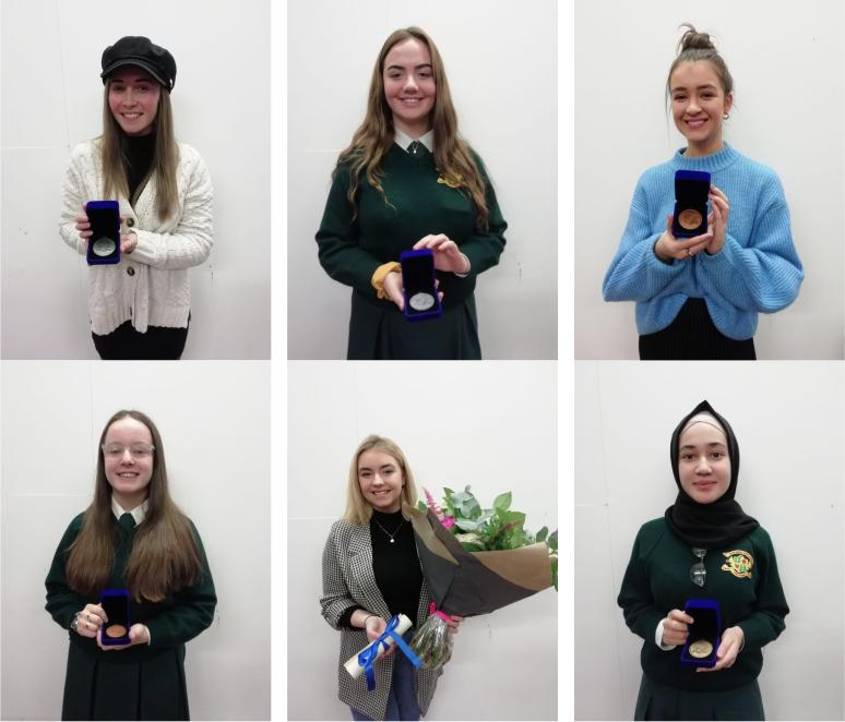 Awards winners Lauren Foley, Siofra Kildee-Doolan, Ciara White, Robyn Kinsella, Renee Campbell and Aaishah Buzakhar.