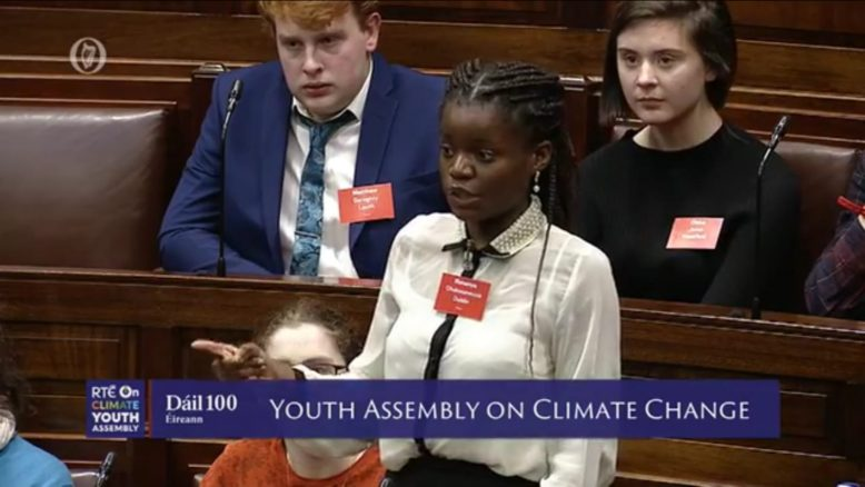5th Year Ifunanya Chukwuewuzie speaking at the Youth Assembly on Climate