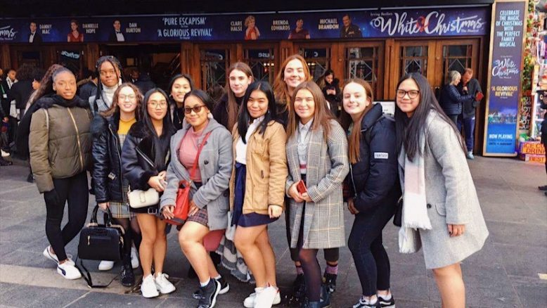 Career Ready students outside the Dominion Theatre in London's West End