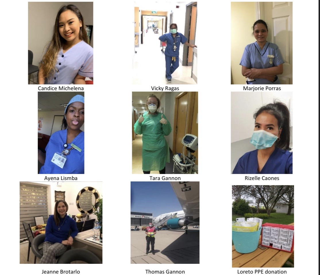 Healthcare heroes Candice Michelena, Vicky Ragas, Marjorie Porras, Ayena lisimba, Tara Gannon, Rizelle Caones, Jeanne Brotarlo and Thomas Gannon