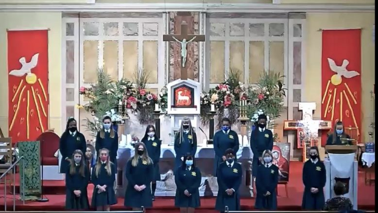 Senior Prefects on the altar at the ceremony to mark the opening of the new school year.
