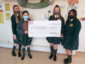 Emily O'Neill, Amy Richmond, Holly Gorman and Chloe Pingol holding the cheque for Down Syndrome Ireland.